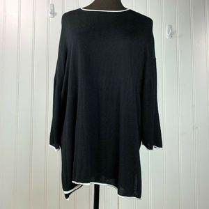 Zara Women Knit Black Pullover Tunic Top Medium